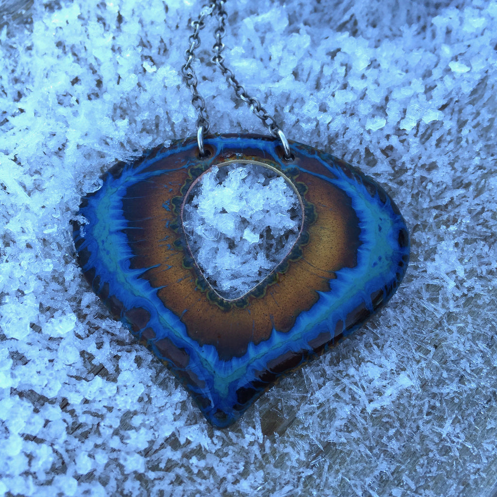 Necklace - Mini Heart with CutOut - Electric Blue Gold 2 1/4""
