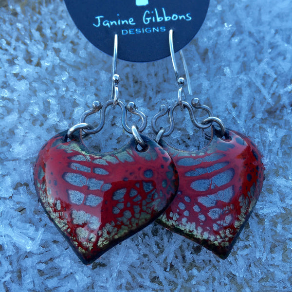 Earrings - Chandelier Wings - Red Berry