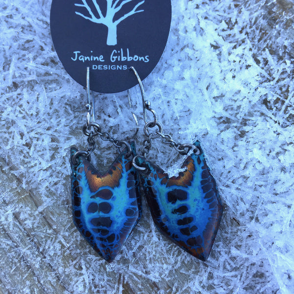 Earrings - Medium Arrowhead - Blue Copper