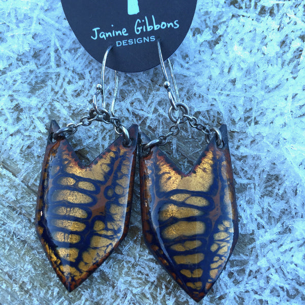 Earrings - Large Arrowhead - Golden Sand and Navy