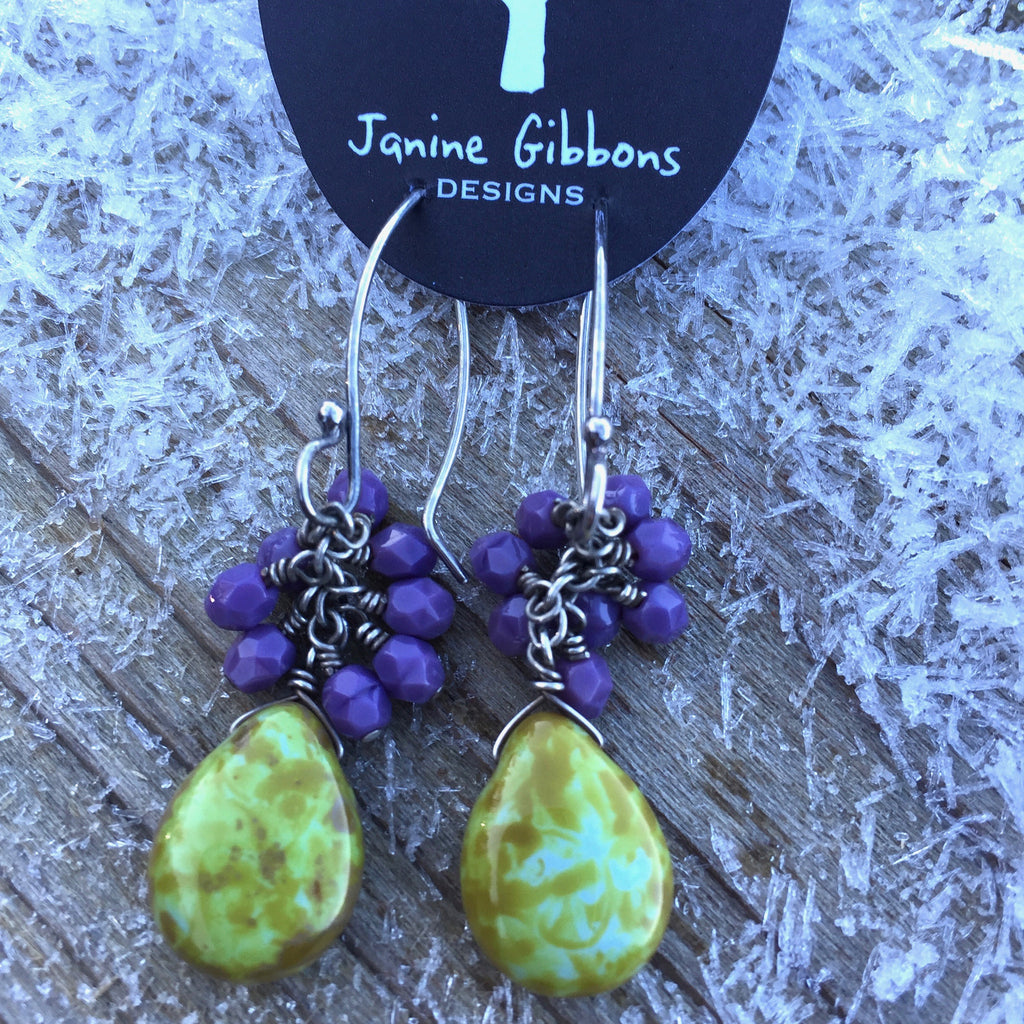 Beaded Cluster With Drop - Lavender/Lime