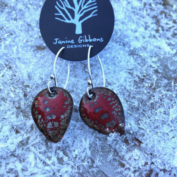 Earrings - Wing - Size 2 - Red Berry