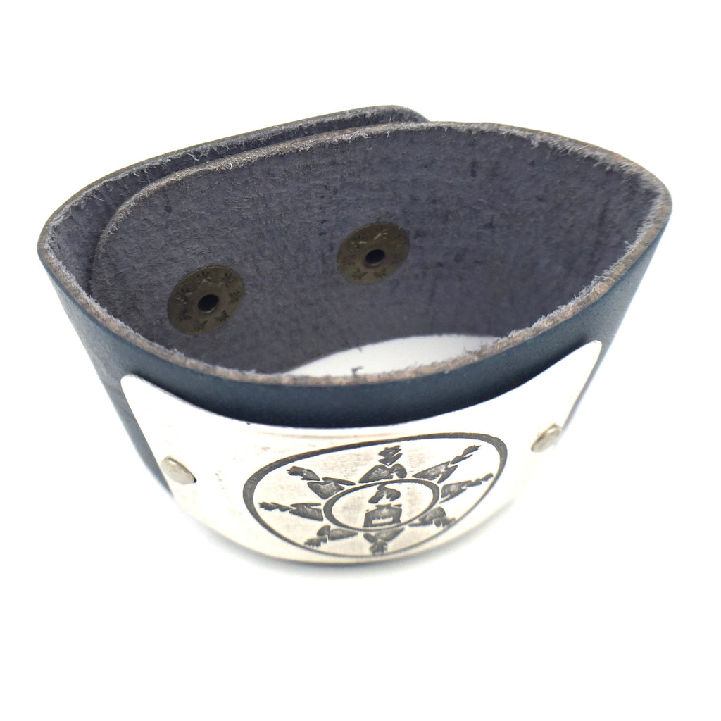 Bracelet - Navy Leather/Silver - Standing Rock