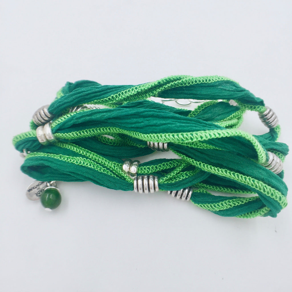 Bracelet - Pewter Beads - Ferngreen