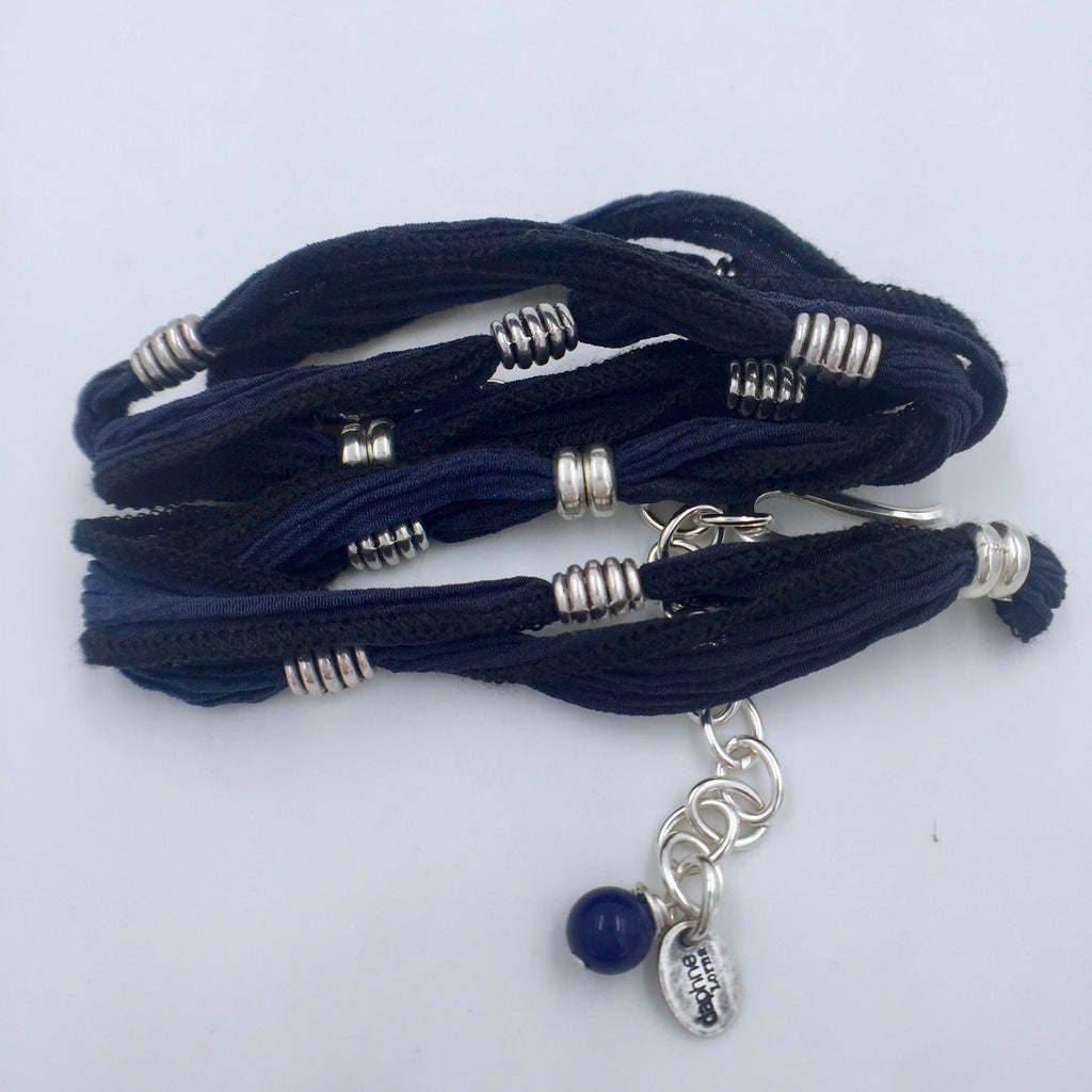 Bracelet - Pewter Beads - Blue/Black