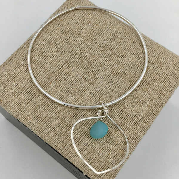 Bangle - Lotus Petal  w/Chalcedony Briolette, Sterling Silver