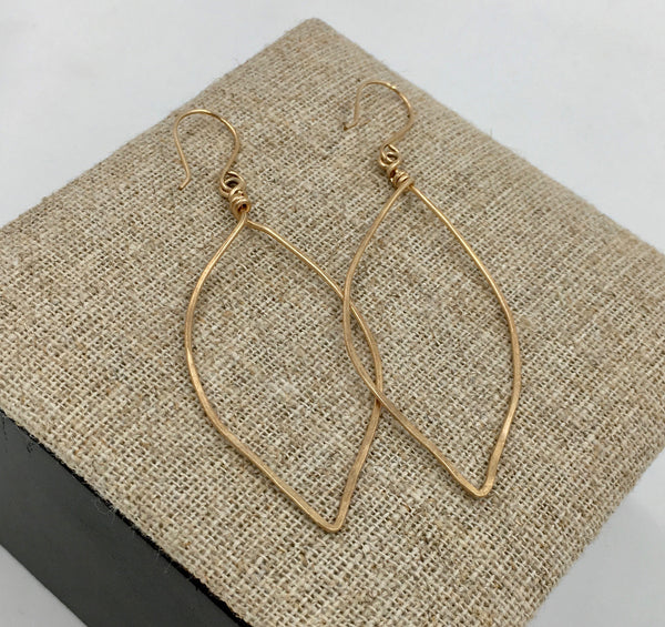Earrings - Large Leaf Hammered
