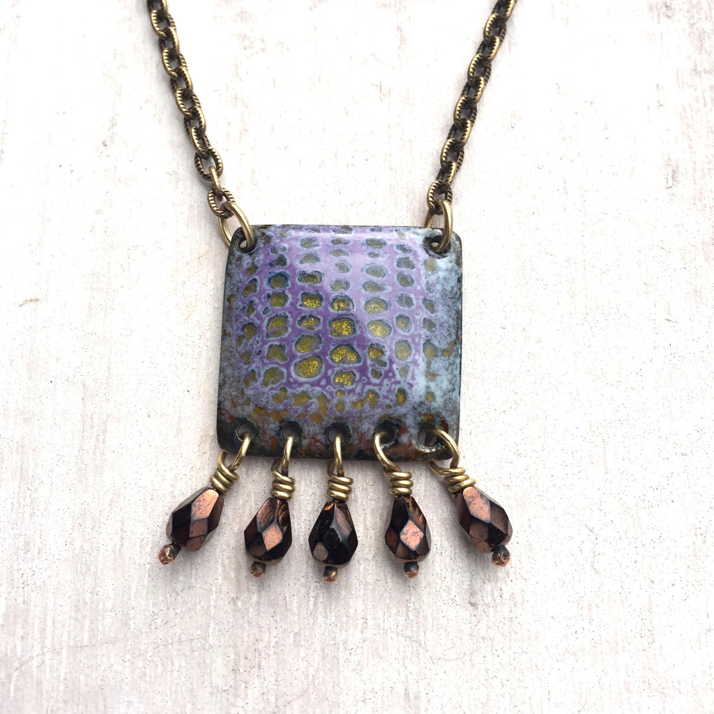Necklace - No.4 Square Beaded - Lavender Sage