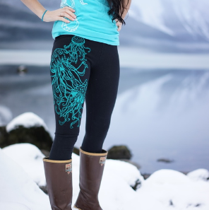 Legging - Jellyfish Winter in Teal on Black