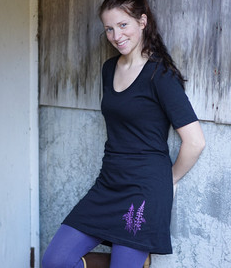 Dress - Tee Dress in Black with Purple Lupine