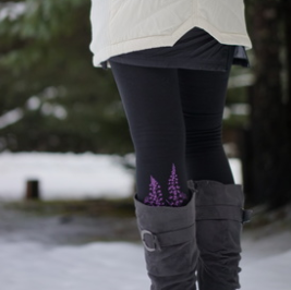 Legging - Lupin Winter in Purple on Black