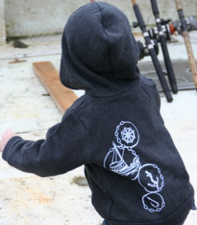 Kids Hoodie - Fishing in Navy
