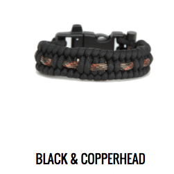 Alaska Survival Bracelet - BLACK & COPPERHEAD - Black and Multi Orange