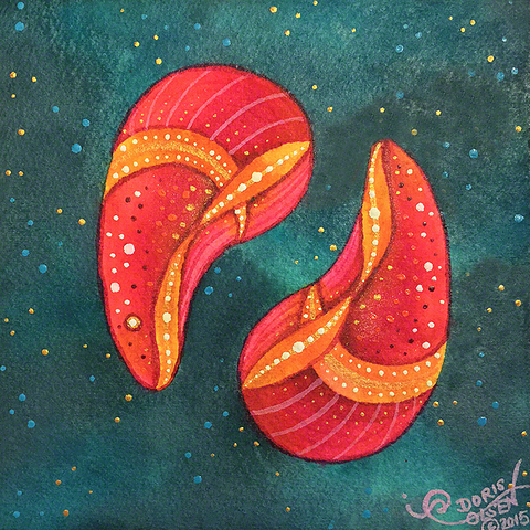 Painting - Cosmic Shells Series - Aqua Wine