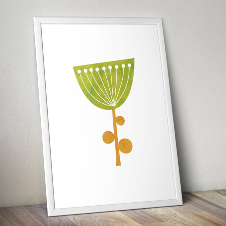 Print - 11 x 14 - Minimalist - Scandinavian Flower in Green