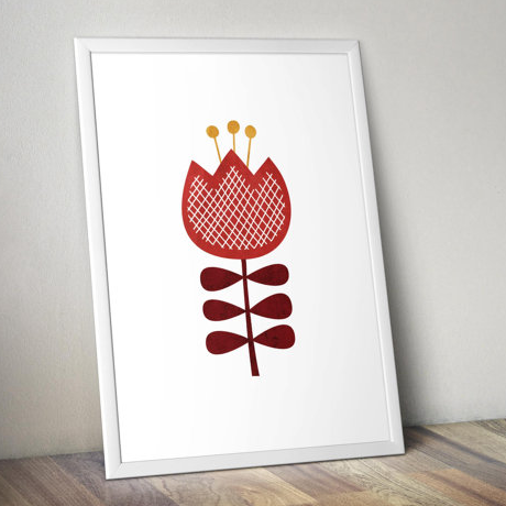 Print - 11 x 14 - Minimalist - Scandinavian Flower in Red