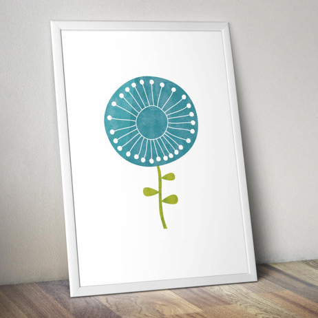 Print - 11 x 14 - Minimalist - Scandinavian Flower in Blue