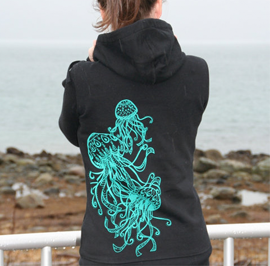 Hoodie - Jellyfish Trio in Teal on Black Zip