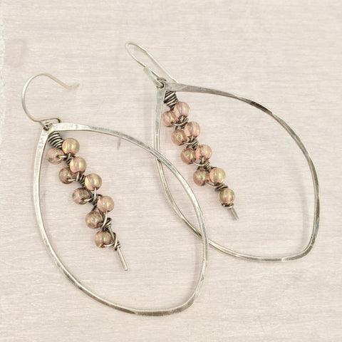 Earrings - Leaves with Rose Bead Accents