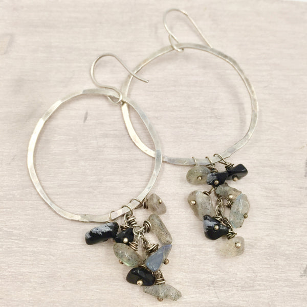 Earrings - Hoops with Rainstorm Beads