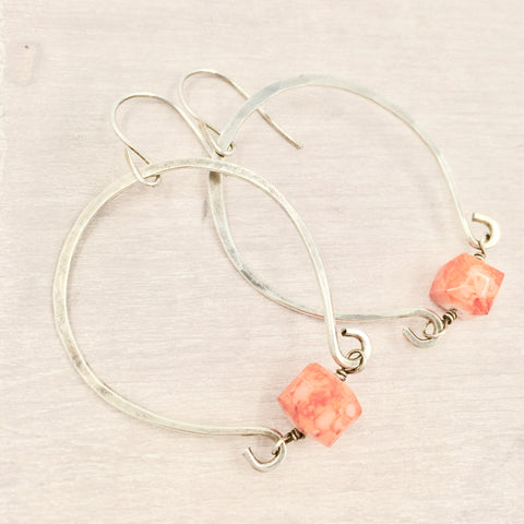 Earrings - Horseshoe with Orange Bead