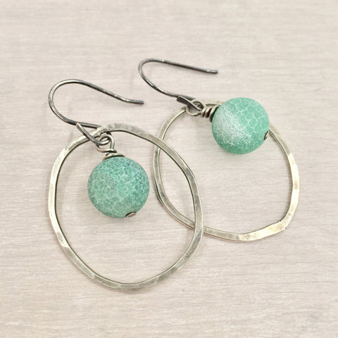 Earrings - Circle with Teal Accent