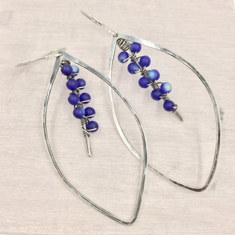 Earrings - Leaves with Blue Accent Beads