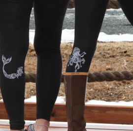 Legging - White Jellyfish on Black