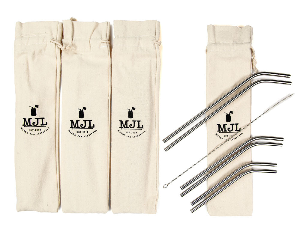 Stainless Steel Bent Straw Combo Pack