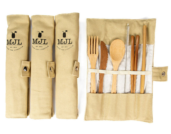 Bamboo Utensil Set with Carrying Case