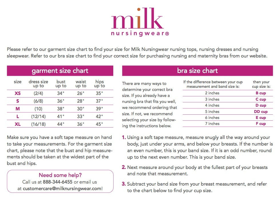 Milk Nursing Wear Size Guide