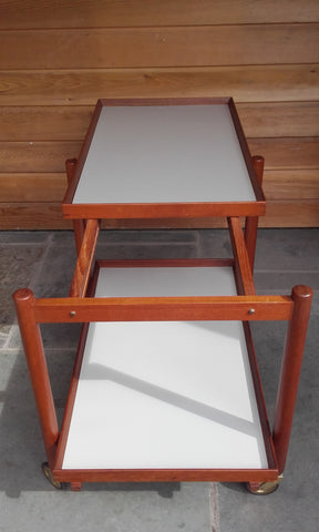 "Mid-Century Danish ""Butler Board"" Trolley with Adjustable Top by Poul Hundevad for Hundevad Møbelfabrik (1950s)"