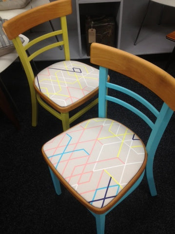 1950s pair of 2 bar ladder back kitchen chairs, Autentico painted and reupholstered