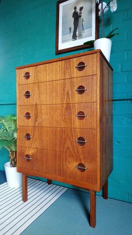 Tall 5 Drawer Chest Of Drawers With Circular Handles
