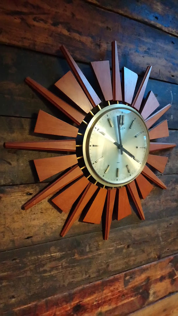 Anstey & Wilson Sunburst Wall Clock With Original Movement