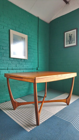 Rare Mid-Century Extending Dining Table By Beithcraft With Cruciform Leg Structure 1960s