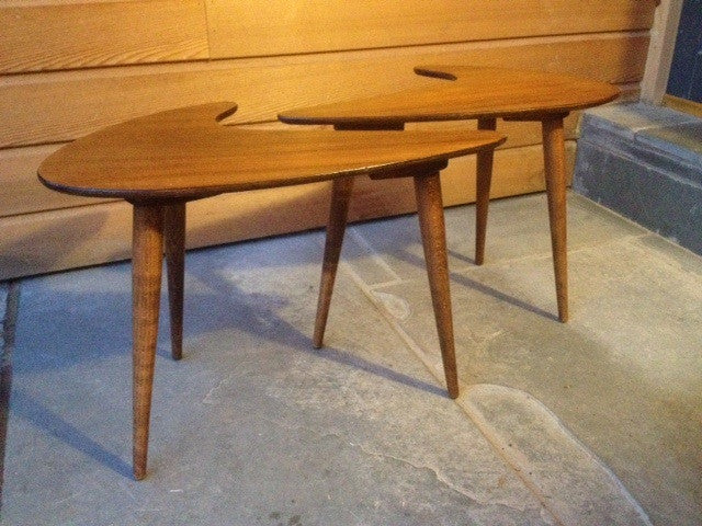 Pair of Boomerang Side Tables in Teak