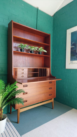 Borge Mogensen Teak Writing Bureau With Slide Out Desk & Tambour Doors