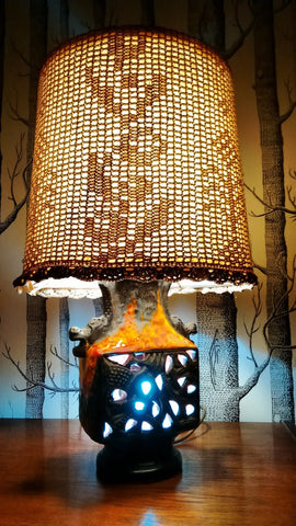 Chinese Dragon Lamp With Crocheted Shade And Three Light Settings