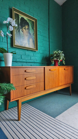 Lovely Compact Sideboard In Teak With Eliptical Handles