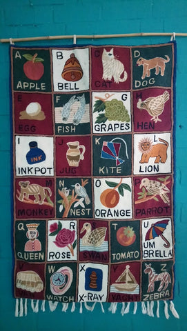Decorative Vintage Crewel Work Alphabet Wall Hanging