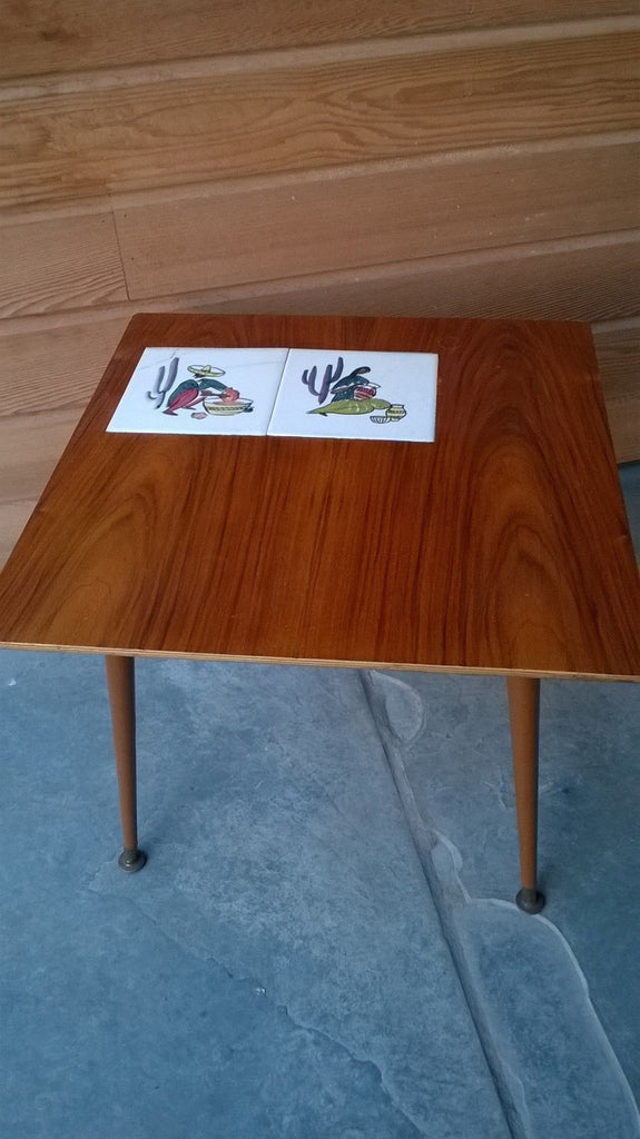 1960s Coffee Table with Dansette Legs and Tiles