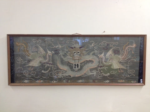 1920s Chinese Embroidered Silk Panel With Dragon and Two Phoenixes