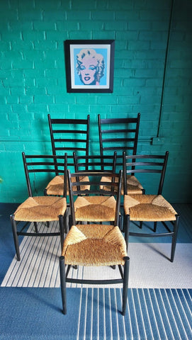 Set of 6 Italian-Made Gio Ponti Style Dining Chairs In Ebonised Finish With Rush Seats