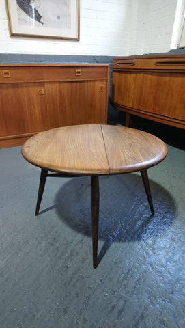 "Ercol Model 308 Drop Leaf ""Half Moon"" Occasional Table"