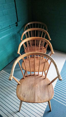 "Set Of 4 Iconic Ercol ""Cowhorn"" Chairs"