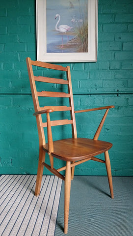 Rare Ercol Ladder Back Armchair In Elm And Beech