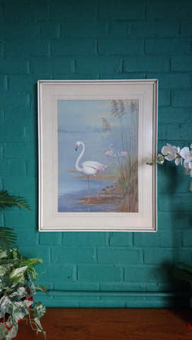 Vintage Mid-Century Flamingo Water Colour Painting By John Baxendale (Signed & Dated 1970)