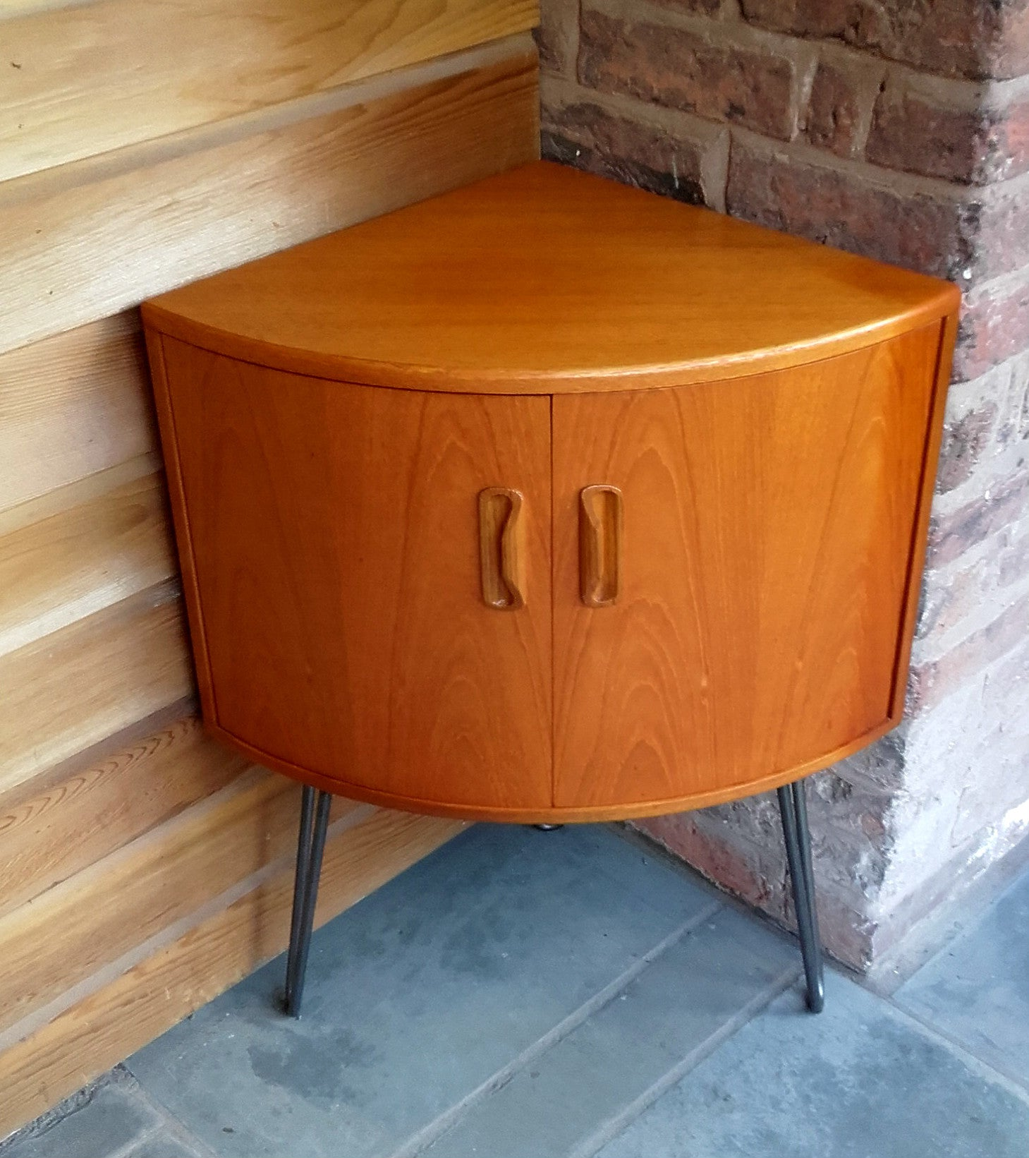 Cool G Plan Fresco Corner Cabinet On Industrial Hairpin Legs