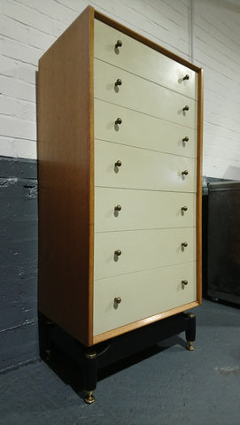 "G-Plan ""Chinese White"" 7 Drawer Tallboy Chest Of Drawers"
